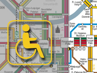 Section of Dresden network map for wheelchair users