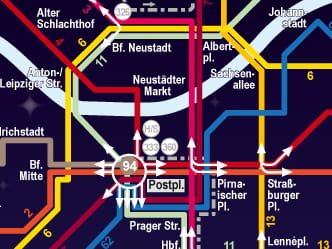Section of Dresden network map for night-time travel