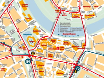 Section of the city map with city-centre routes and sights