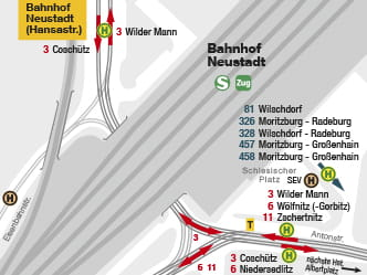 Section of map for area around Dresden Neustadt stop
