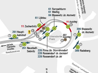 Section of map for area around Dresden Bühlau stop