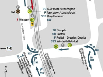 Section of map for area around Dresden Gompitz stop