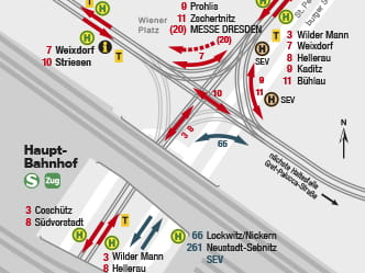 Section of map for area around Dresden Main Station stop