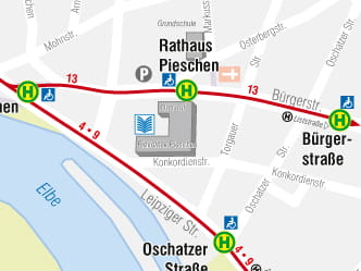 Section of map for area around Dresden Pieschen stop