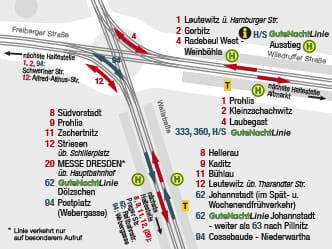 Maps of areas around stops DVB Dresdner Verkehrsbetriebe AG