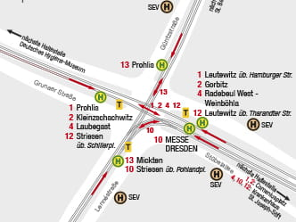 Section of map for area around Dresden Strassburger Platz stop