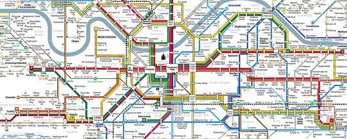 Route overview DVB Dresdner Verkehrsbetriebe AG