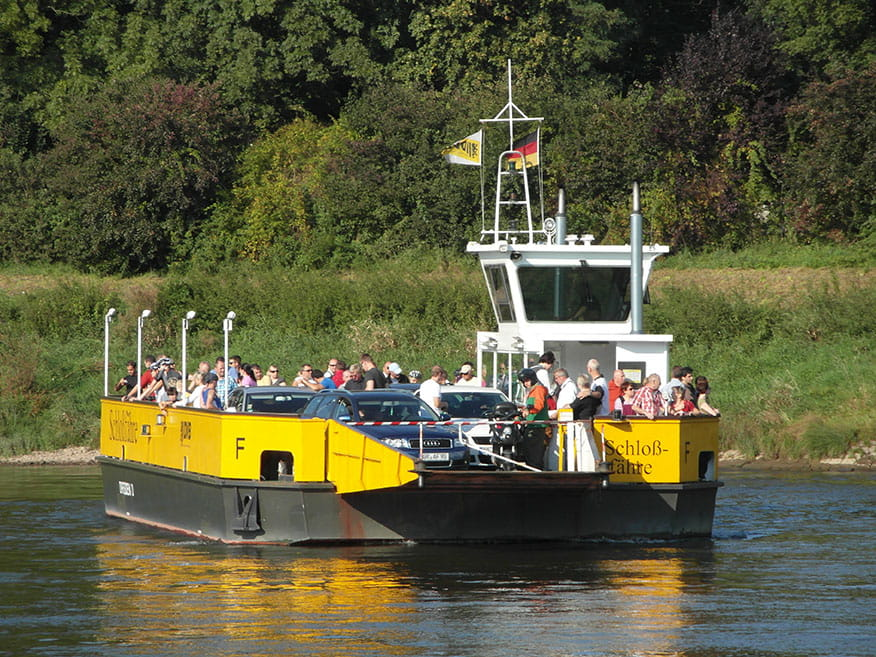 Photo of Elbe car ferry on the river