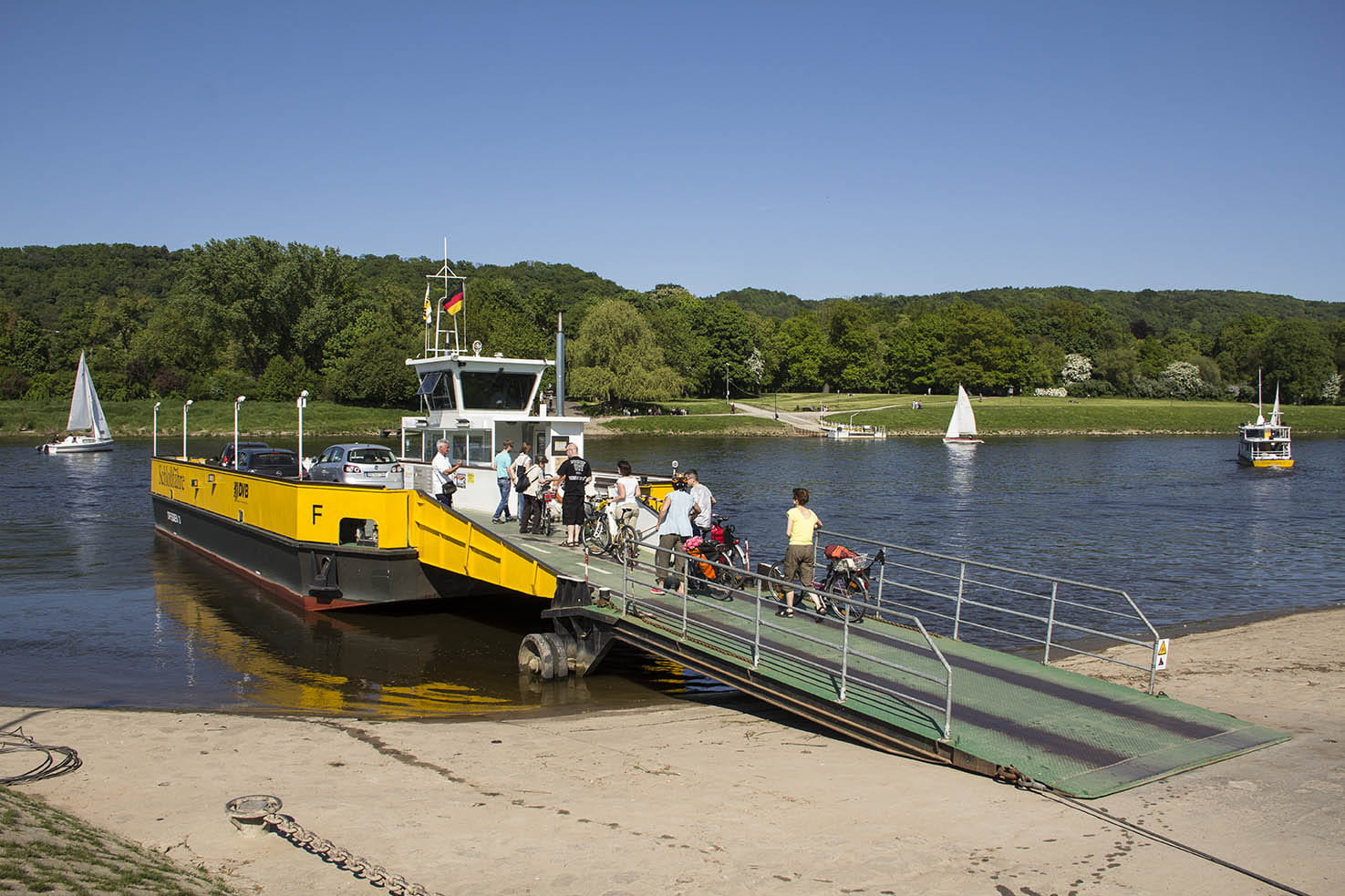 Photo of Elbe car ferry and docking place at the bank