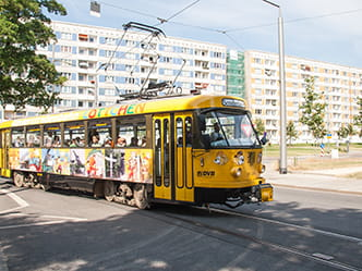 "Photo of the childrens tram ""Lottchen"" driving past"