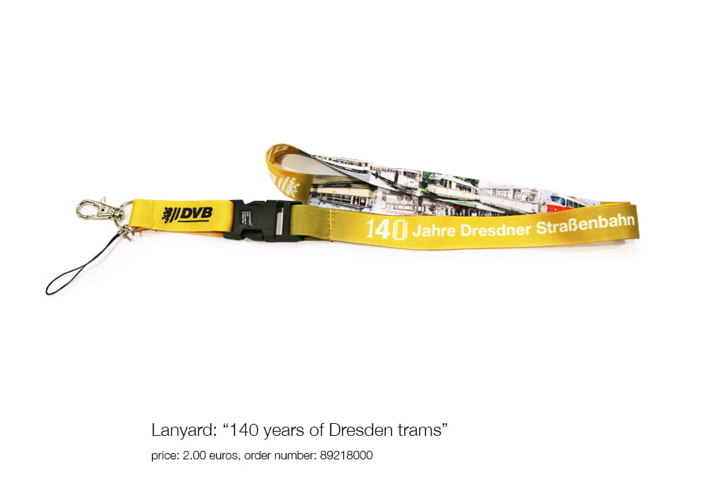 "Lanyard: ""140 years of Dresden trams"", price: 2.00 euros, order number: 89218000"