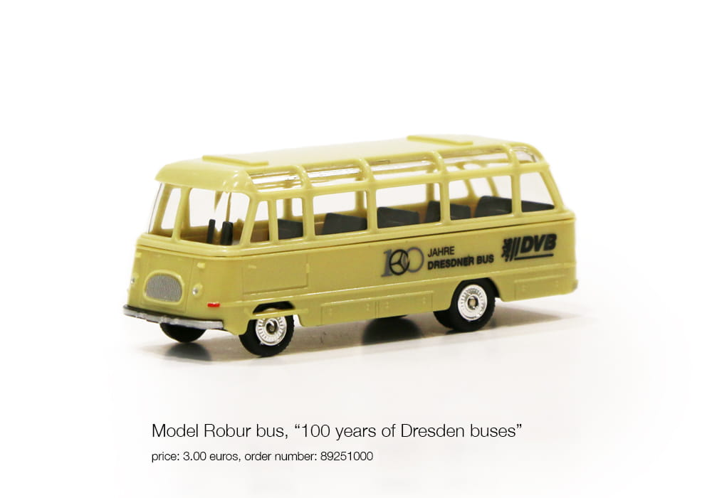 "Model Robur bus, ""100 years of Dresden buses"", price: 3.00 euros, order number: 89113000"