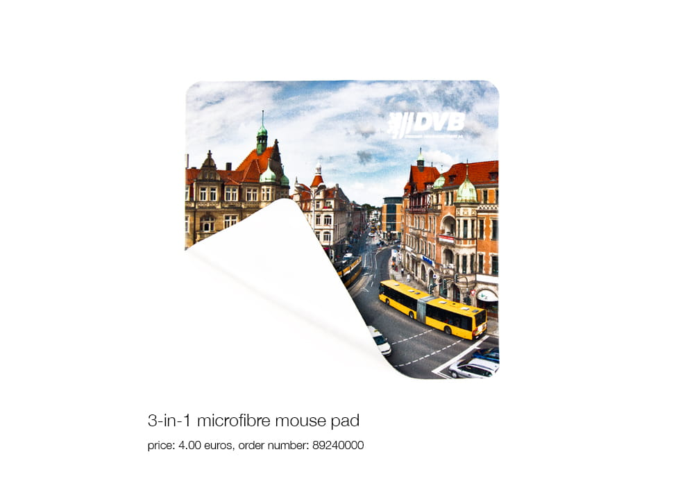 3-in-1 microfibre mouse pad, price: 4.00 euros, order number: 89240000