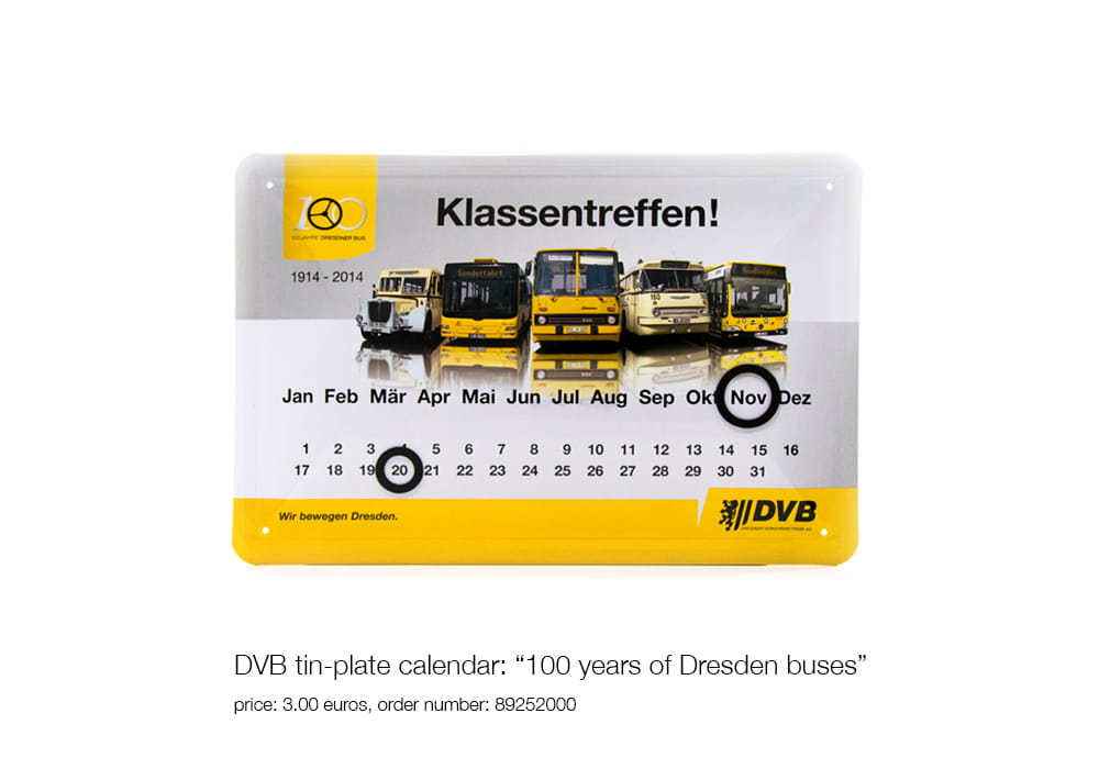 "DVB tin-plate calendar: ""100 years of Dresden buses"", price: 3.00 euros, order number: 89252000"