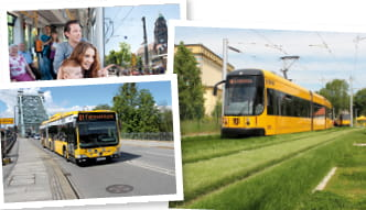 3 pictures with bus, tram and people
