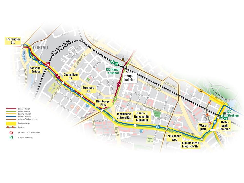 Die geplante Stadtbahn-Trasse zwischen Plauen und Strehlen. Abb.: DVB