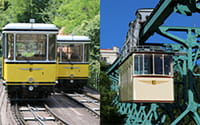 The photo shows two moving Dresden Standseilbahn cable railway cars (left) and the Schwebebahn cable railway going downhill (right).